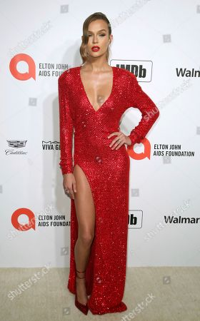 Josephine Skriver arrives at the 2020 Elton John AIDS Foundation Oscar Viewing Party, in West Hollywood, Calif
