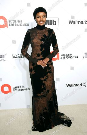 Halima Aden arrives at the 2020 Elton John AIDS Foundation Oscar Viewing Party, in West Hollywood, Calif