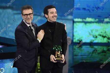 Fabio Fazio and winner of 70th Sanremo Music Festival Antonio Diodato