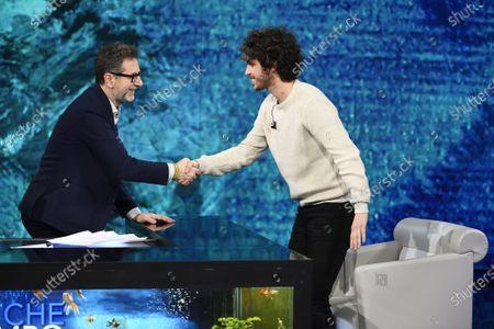 Fabio Fazio and one of the founder of Sardines movement, Mattia Santori