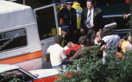 Renee Roberts killed in car crash. Martin Fisk (as P.C. White), Madge Hindle (as Renee Roberts) and Bryan Mosley (as Alf Roberts)