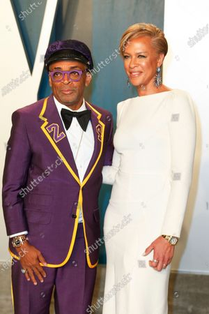 Tonya Lewis Lee (R) and Spike Lee attend the 2020 Vanity Fair Oscar Party following the 92nd annual Academy Awards ceremony in Beverly Hills, California, USA, 09 February 2020. The Oscars were presented for outstanding individual or collective efforts in filmmaking in 24 categories.