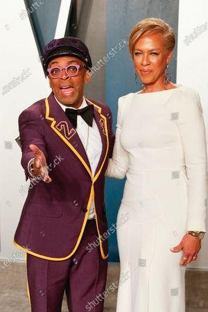 Stock Image of Tonya Lewis Lee (R) and Spike Lee attend the 2020 Vanity Fair Oscar Party following the 92nd annual Academy Awards ceremony in Beverly Hills, California, USA, 09 February 2020. The Oscars were presented for outstanding individual or collective efforts in filmmaking in 24 categories.
