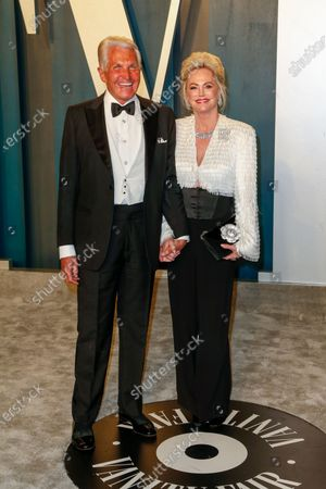 Stock Image of George Hamilton and Barbara Sturm attend the 2020 Vanity Fair Oscar Party following the 92nd annual Academy Awards ceremony in Beverly Hills, California, USA, 09 February 2020 (Issued 10 February 2020).