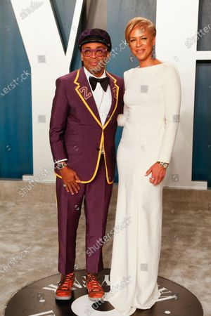 Stock Picture of Tonya Lewis Lee (R) and Spike Lee attend the 2020 Vanity Fair Oscar Party following the 92nd annual Academy Awards ceremony in Beverly Hills, California, USA, 09 February 2020. The Oscars were presented for outstanding individual or collective efforts in filmmaking in 24 categories.