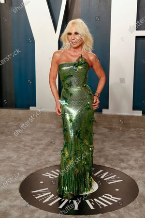 Donatella Versace attends the 2020 Vanity Fair Oscar Party following the 92nd annual Academy Awards ceremony in Beverly Hills, California, USA, 09 February 2020 (Issued 10 February 2020).