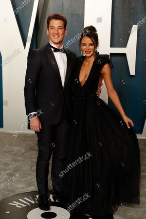 Miles Teller and Keleigh Sperry attend the 2020 Vanity Fair Oscar Party following the 92nd annual Academy Awards ceremony in Beverly Hills, California, USA, 09 February 2020 (Issued 10 February 2020).