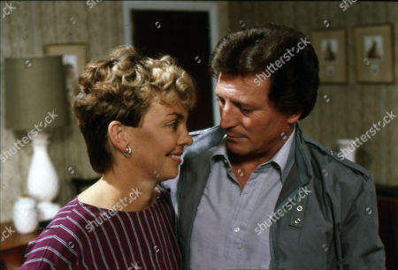 Stock Image of Maggie Dunlop tells Mike she is pregnant. Jill Kerman (as Maggie Dunlop) and Johnny Briggs (as Mike Baldwin)