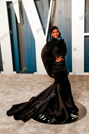 Stock Photo of Halima Aden attends the 2020 Vanity Fair Oscar Party following the 92nd annual Academy Awards ceremony in Beverly Hills, California, USA, 09 February 2020. The Oscars are presented for outstanding individual or collective efforts in filmmaking in 24 categories.