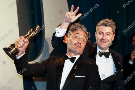 Taika Waititi (L) attends the 2020 Vanity Fair Oscar Party following the 92nd annual Academy Awards ceremony in Beverly Hills, California, USA, 09 February 2020. The Oscars are presented for outstanding individual or collective efforts in filmmaking in 24 categories.