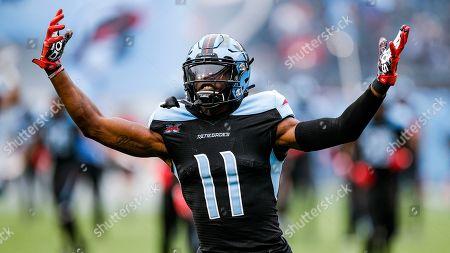 Dallas Renegades wide receiver Joshua Crockett (11) before an XFL football game against the St. Louis Battlehawks, in Arlington, Texas. St. Louis won 15-9