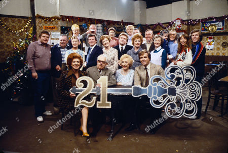 Regular cast members celebrate the shows 21st Birthday. Back row: Julie Goodyear (as Bet Lynch), Fred Feast (as Fred Gee), Betty Driver (as Betty Turpin), Meg Johnson (as Eunice Gee), Bryan Mosley (as Alf Roberts), Middle row: Geoffrey Hughes (as Eddie Yeats), Bernard Youens (as Stan Ogden), Jean Alexander (as Hilda Ogden), Johnny Briggs (as Mike Baldwin), Eileen Derbyshire (as Emily Bishop), Peter Adamson (as Len Fairclough), Babara Knox (as Rita Fairclough), Peter Dudley (as Bert Tilsley), Thelma Barlow (as Mavis Riley), Christabel Finch (as Tracy Barlow), Anne Kirkbride (as Deirdre Barlow), Helen Worth (as Gail Tilsley), Christopher Quinten (as Brian Tilsley) Front row: Pat Phoenix (as Elsie Tanner), Jack Howarth (as Albert Tatlock), Doris Speed (as Annie Walker) and William Roache (as Ken Barlow)