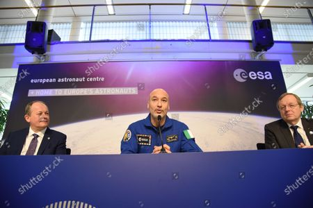Italian ESA astronaut Luca Parmitano speaks to the media during a press conference at the European Space Agency (ESA) / European Astronaut Centre (EAC) in Cologne
