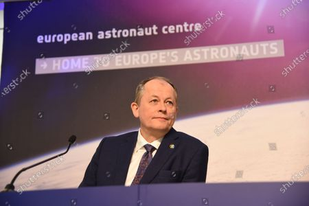 Stock Photo of Italian ESA astronaut Luca Parmitano speaks to the media during a press conference at the European Space Agency (ESA) / European Astronaut Centre (EAC) in Cologne