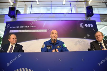 Stock Image of Italian ESA astronaut Luca Parmitano speaks to the media during a press conference at the European Space Agency (ESA) / European Astronaut Centre (EAC) in Cologne