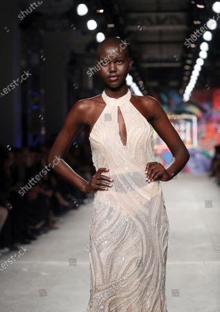Stock Picture of Adut Akech Bior on the catwalk