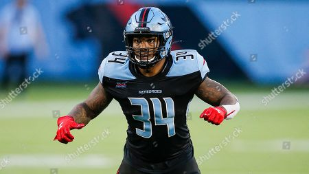 Dallas Renegades running back Cameron Artis-Payne (34) during an XFL football game against the St. Louis Battlehawks, in Arlington, Texas. St. Louis won 15-9