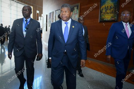 President of Angola, Joao Lourenco (C) arrives to attend the 33rd African Union Summit in Addis Ababa, Ethiopia, 10 February 2020. African leaders are gathering in Ethiopian capital for an annual meeting to discuss violence and conflicts in the continent, under the theme 'Silencing the Guns: Creating Conducive Conditions for Africa's Development'.