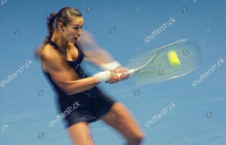Stock Picture of Vitalia Diatchenko of Russia returns the ball to Greece's Maria Sakkari, during the St. Petersburg Ladies Trophy-2020 tennis tournament match in St.Petersburg, Russia