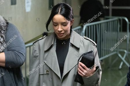 Stock Image of Mexican model Claudia Salinas leaves court after testifying in Harvey Weinstein's rape trial, in New York. The Mexican model and actress denies a Harvey Weinstein accuser's claim that she stood by and did nothing while the once-powerful movie mogul groped the woman in a Beverly Hills hotel in 2013