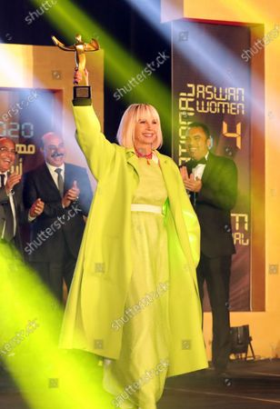 Victoria Abril receives an award during the opening ceremony of the 4th Aswan International Women Film Festival, in Aswan, Egypt, 10 February 2020. The AIWFF runs from 10 to 15 February.