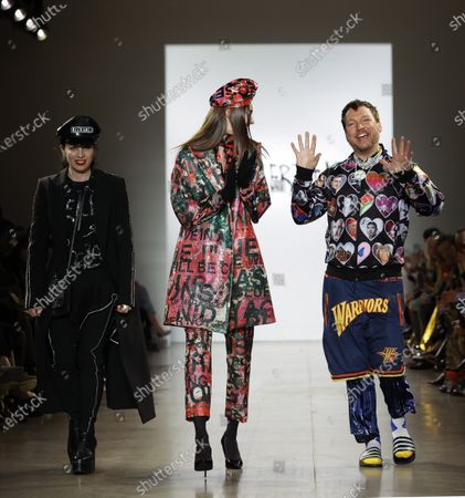 Libertine designer Johnson Hartig (R) walks with his models at the conclusion of his Libertine fashion show during New York Fashion Week events for Fall/Winter lines are being held from 06 to 13 February 2020.