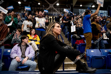 Members of the audience cheer as actress Cynthia Nixon speaks at a campaign rally for Democratic presidential candidate Sen. Bernie Sanders, I-Vt., at the Whittemore Center Arena at the University of New Hampshire, in Durham, N.H