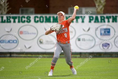 Stock Picture of Sam Houston State's Megan McDonald (9) throws to the infield during an NCAA softball game against George Mason in Deland, Fla