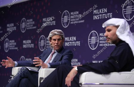 Michael Milken (L) Chairman of the Milken Institute, and His Excellency Khaldoon Khalifa Al Mubarak (R) Chief Executive Officer (CEO) of Mubadala Investment Company, speak during the 2020 Milken Institute Middle East and Africa Summit (MEA) at St. Regis Saadiyat Island Resort in Abu Dhabi, United Arab Emirates, 11 February 2020. The summit brings together interdisciplinary thought leaders and decision-makers to discuss the world's most pressing challenges. The event runs on 11-12 February 2020.