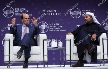 Stock Image of Michael Milken (L) Chairman of the Milken Institute, and His Excellency Khaldoon Khalifa Al Mubarak (R) Chief Executive Officer (CEO) of Mubadala Investment Company, speak during the 2020 Milken Institute Middle East and Africa Summit (MEA) at St. Regis Saadiyat Island Resort in Abu Dhabi, United Arab Emirates, 11 February 2020. The summit brings together interdisciplinary thought leaders and decision-makers to discuss the world's most pressing challenges. The event runs on 11-12 February 2020.