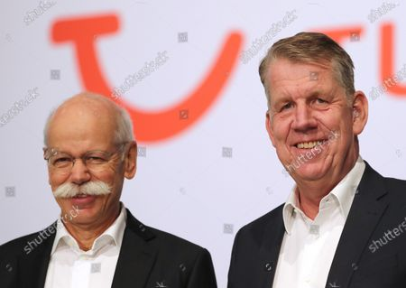 The CEO of German TUI Group Friedrich Joussen (R) and the chairman of the TUI supervisory board Dieter Zetsche (R) before the annual general meeting of TUI Group in Hanover, northern Germany, 11 February 2020. TUI stock has lost about 20 percent during the last quarter.