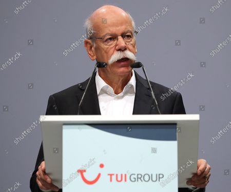 Stock Image of The chairman of the supervisory board of German TUI Group Dieter Zetsche speaks during the annual general meeting of TUI Group in Hanover, northern Germany, 11 February 2020. TUI stock has lost about 20 percent during the last quarter.