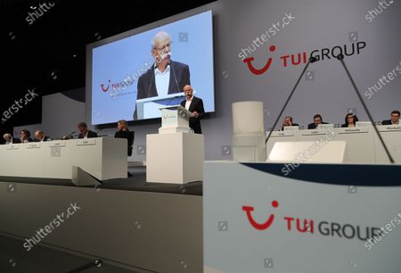 Stock Picture of The chairman of the supervisory board of German TUI Group Dieter Zetsche (C) speaks during the annual general meeting of TUI Group in Hanover, northern Germany, 11 February 2020. TUI stock has lost about 20 percent during the last quarter.