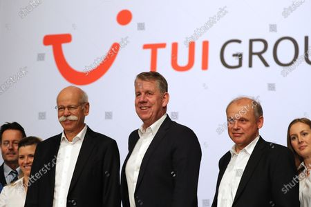 Stock Photo of The CEO of German TUI Group Friedrich Joussen (3-R), TUI board member Sebastian Ebel (2-R) and the chairman of the TUI supervisory board Dieter Zetsche (3-L), before the annual general meeting of TUI Group in Hanover, northern Germany, 11 February 2020. TUI stock has lost about 20 percent during the last quarter.