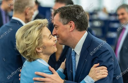 David McAllister, Member of Parliament from the EPP Group (R) hugs European Commission President Ursula von der Leyen (L) before a debate on the 'Proposed mandate for negotiations for a new partnership with the United Kingdom of Great Britain and Northern Ireland' at the European Parliament in Strasbourg, France, 11 February 2020.