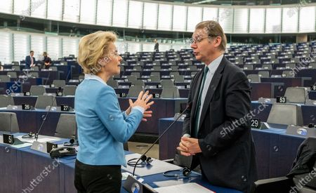 European Commission President Ursula von der Leyen (L) speaks with Philippe Lamberts from the Group of the Greens/European Free Alliance (R) before a debate on the 'Proposed mandate for negotiations for a new partnership with the United Kingdom of Great Britain and Northern Ireland' at the European Parliament in Strasbourg, France, 11 February 2020.