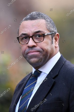 Stock Image of James Cleverly, Conservative Party Chairman, arriving at No.10 Downing Street.