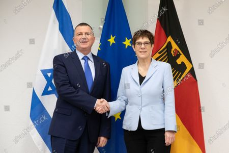German Minister of Defence Annegret Kramp-Karrenbauer (R) and President of the Israeli Parliament Yuli Edelstein (L) shake hands at the Federal Ministry of Defense in Berlin, Germany, 11 February 2020. Edelstein visits the German capital and met with several German leaders on Monday, including President Frank-Walter Steinmeier.
