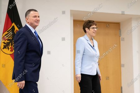 German Minister of Defence Annegret Kramp-Karrenbauer (R) and President of the Israeli Parliament Yuli Edelstein (L)  at the Federal Ministry of Defense in Berlin, Germany, 11 February 2020. Edelstein visits the German capital and met with several German leaders on Monday, including President Frank-Walter Steinmeier.