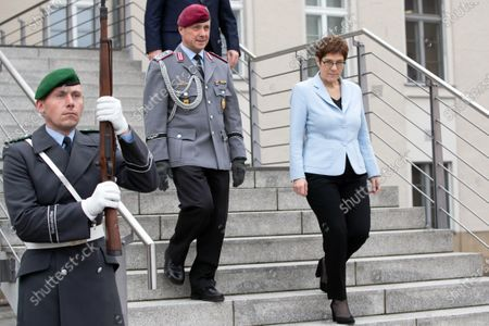 German Minister of Defence Annegret Kramp-Karrenbauer (R) arrives to receive President of the Israeli Parliament Yuli Edelstein at the Federal Ministry of Defense in Berlin, Germany, 11 February 2020. Edelstein visits the German capital and met with several German leaders on Monday, including President Frank-Walter Steinmeier.