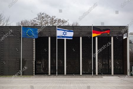 Flags of Europe, Israel and Germany are fluttering in the wind at the Federal Ministry of Defense in Berlin, Germany, 11 February 2020. President of Israeli Parliament Yuli Edelstein visits the German capital and met with several German leaders on Monday, including President Frank-Walter Steinmeier.