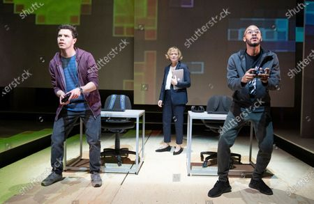 Stock Picture of Oliver Johnstone as Neil,  Sarah Woodward as Hannah, Enyi Okoronkwo as Zef