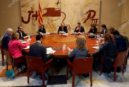 Stock Photo of Catalan regional President Joaquim Torra (C, back) chairs the weekly regional Cabinet Meeting in Barcelona, Spain, 11 February 2020.