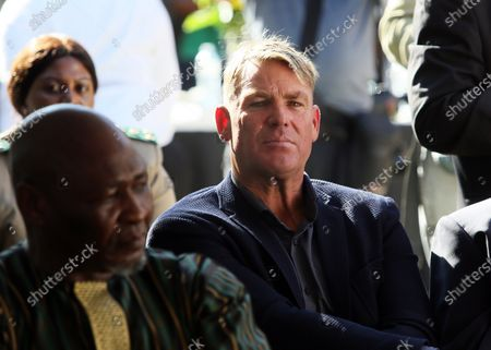 Ex Australian cricket player, Shane Warne (C) attends the 30th anniversary of the release of Mandela return from prison outside Drakenstein Correctional Centre (formerly Victor Verster Prison), in Cape Town, South Africa, 11 February 2020. The former leader of the ANC (African National Congress), first black President of South Africa and noble peace price winner spent 27 years behind bars prior to his release.