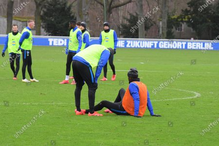 Hertha BSC players attend their team's training session in Berlin, Germany, 11 February 2020. Juergen Klinsmann stepped down as coach of German Bundesliga side Hertha BSC after ten weeks in charge, the former German international confirmed on 11 February 2020.