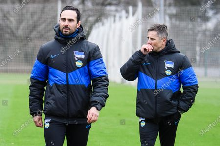 Hertha's new interim coach Alexander Nouri (L) walks next to athletic coach Werner Leuthard (R) during their team's training session in Berlin, Germany, 11 February 2020. Juergen Klinsmann stepped down as coach of German Bundesliga side Hertha BSC after ten weeks in charge, the former German international confirmed on 11 February 2020.