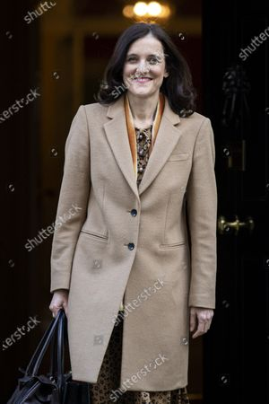 Secretary of State for Environment, Food and Rural Affairs Theresa Villiers leaves 10 Downing Street after a Cabinet meeting. The Prime Minister has announced that the HS2 rail project will go ahead.