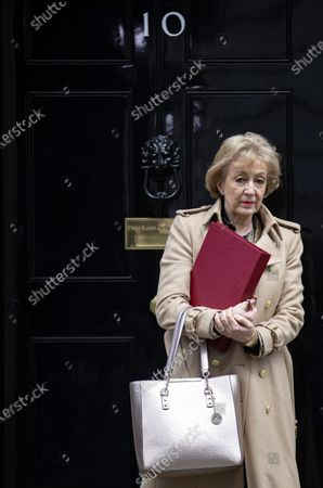 Secretary of State for Business, Energy and Industrial Strategy Andrea Leadsom leaves 10 Downing Street after a Cabinet meeting. The Prime Minister has announced that the HS2 rail project will go ahead.