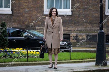 Environment, Food and Rural Affairs Secretary Theresa Villiers arriving in Downing Street to attend a Cabinet meeting this morning. An announcement on the high speed rail line 'HS2' is expected today.