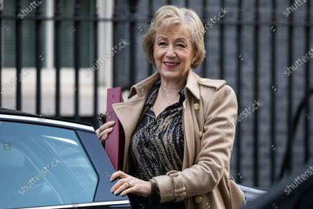 Secretary of State for Business, Energy and Industrial Strategy Andrea Leadsom arriving in Downing Street to attend a Cabinet meeting this morning. An announcement on the high speed rail line 'HS2' is expected today.
